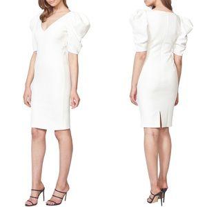 BARDOT Fergie Puff Sleeve Jacquard Cocktail Dress